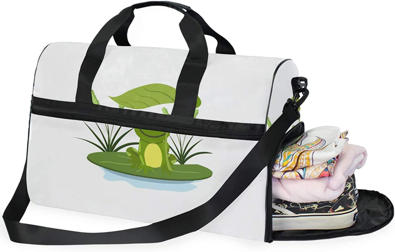 FAJRO Duffle Bag for Women Men Happy Frog Travel Duffel Bag Large Size WaterProof Tear Resistant