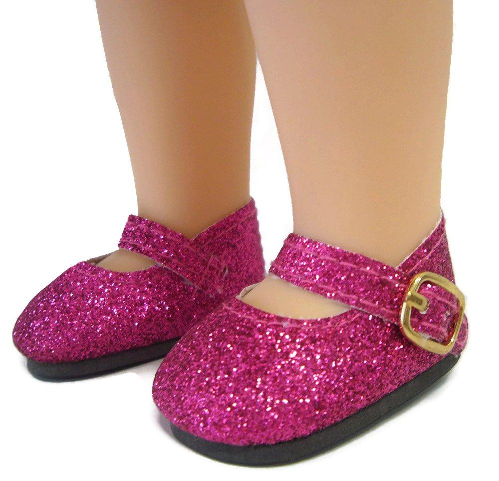 SEE DESCRIP. Purple Glitter Mary Jane Shoes American Girl Wellie Wishers Dolls
