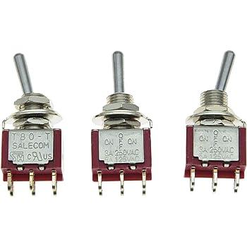 Salecom 5PCS Dpdt 6/pin 2/WAY on della chitarra mini interruttore a levetta auto//barca interruttori