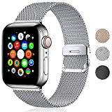 Metal Strap Compatible with Apple Watch, Stainless Steel Mesh Metal Loop with Magnetic Lock Replacement for iWatch Series SE 6 5 4 3 2 1 (38mm / 40mm, Silver)