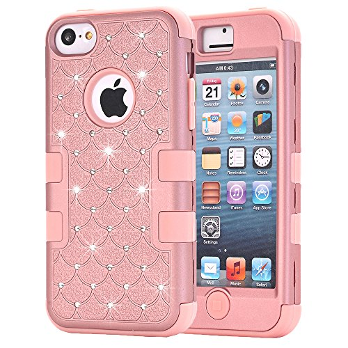 HKW iPhone 5C Case, Bling Rhinestone Glitter Sparkle 3 in 1 Armor Defender Shockproof Protective Diamond Case Cover for Apple iPhone 5C with Stylus Pen (Rose Gold) (MA1838)
