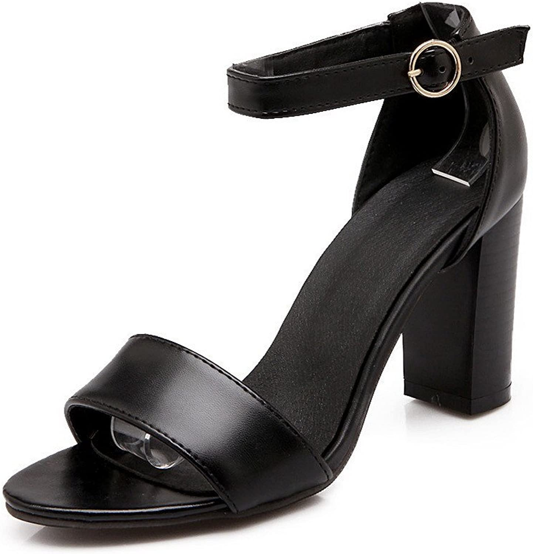AmoonyFashion Women's Open Toe High Heels Solid Buckle Heeled-Sandals