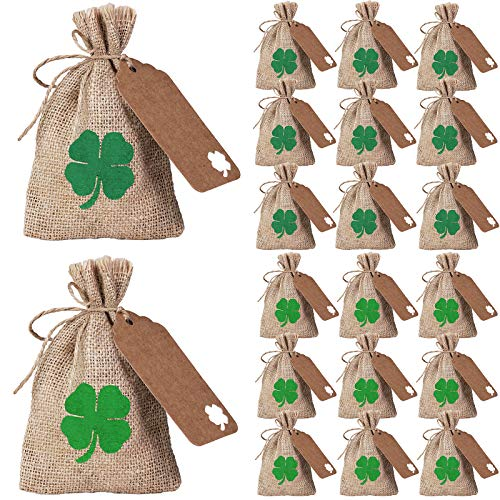 20 Sets St. Patrick's Day Party Favor Bags Lucky Shamrock Burlap Gift Bags Four-Leaf Clover Rustic Hessian Goody Bags Kids Candy Treat Bags Coin Bags with Gift Tags for Saint Patrick's Day Irish Party