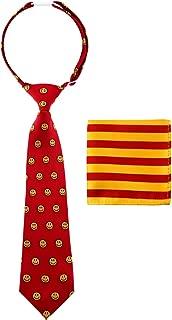 Canacana Smiley Emoji Pre-tied Boy's Tie with Stripes Pocket Square Set