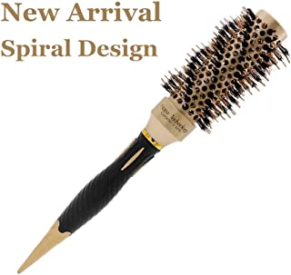 Hair Brushes for Women Round Barrel 1.26in Spiral Nano Ionic Thermal Ceramic & Twill Boar Bristle for Volume,Straightening or curling,Blow Drying,Salon (32)