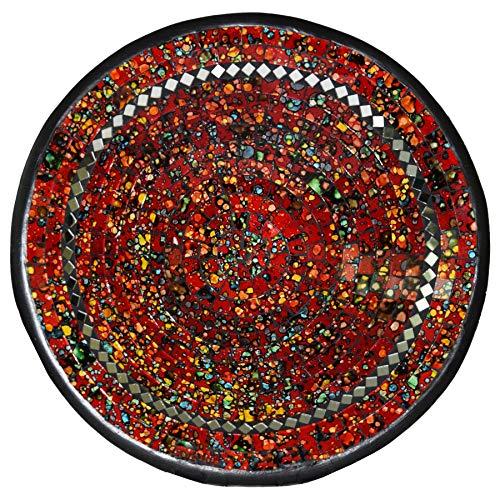 Simandra Mosaikschale Tonschale Glasschale Dekoschale Mosaik Kunsthandwerk Glassteine Deko rund Spiegel XXL Color Rot