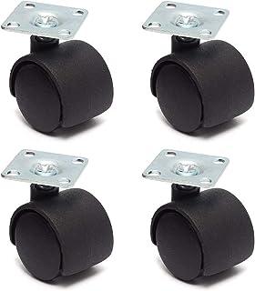 zwenkwielen met rem, Caster Wheels Set van 4 Casters 4 stks Zwart Swivel Plaat Caster 30mm Nylon Wielstoel Tafel Castor Ve...