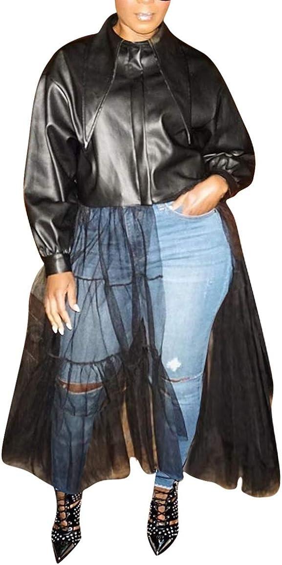 Women Sexy Faux Leather Jacket Dress Long Sleeve Zipper PU Sheer Mesh Patchwork Coat Outwear