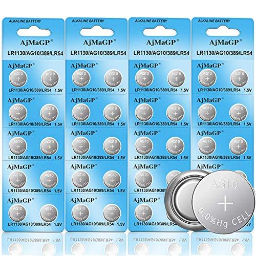 40 Pack 1.5V AG10 LR54 LR1130 SR1130W Alkaline Watch Batteries