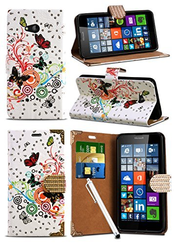 Motorola Moto G 3rd Gen (2015) / Moto G3 - Butterfly Sparkle Glitter Crystal Diamond Encrusted Closure Tab Wallet Case Cover with Integrated Stand with Capacitive STYLUS Touch Screen Pen and Screen Protector