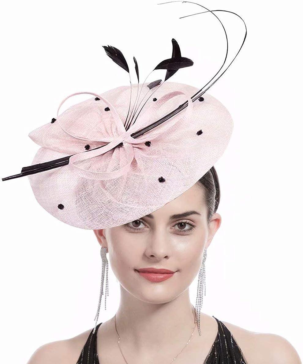 WCOLAS Fascinator Flower Feather Hat Headband Headwear for Church Wedding Cocktail Tea Birthday Party,Gift