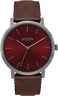 Nixon Men's Porter A10582996 Grey Leather Japanese Quartz Dress Watch