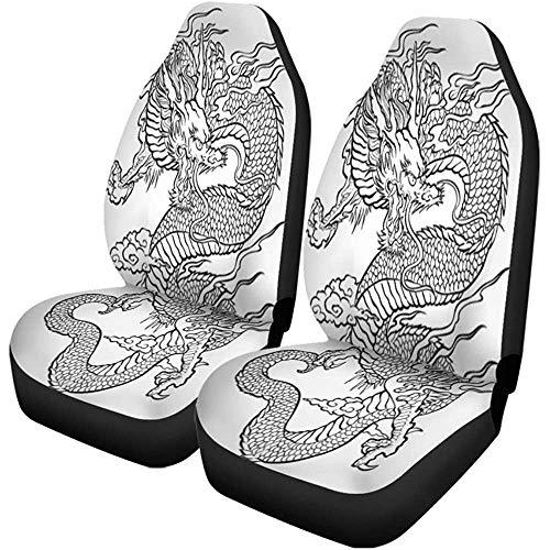 Enoqunt autostoelhoezen tatoeage traditie Aziatische draak Japans Chinees stampatroon Japan set van 2 beschermers