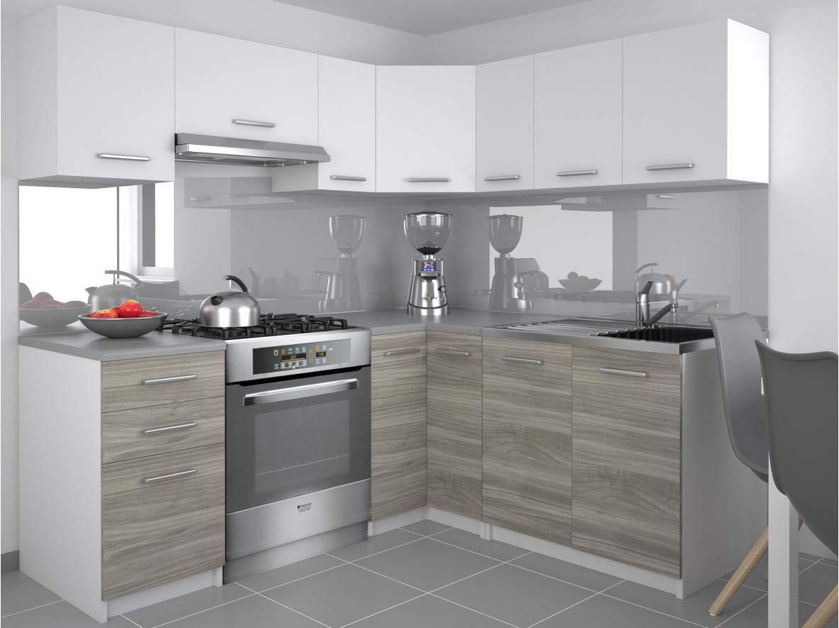 Tarraco Comercial Muebles de Cocina Completa Lidia Blanco/Gris 360 cm: Amazon.es: Hogar