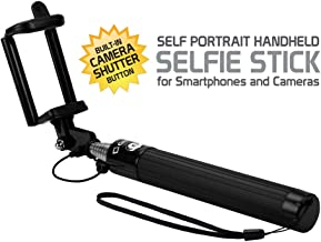 Alcatel OneTouch POP Mega Black Extendable (Aux Cable) Self Portrait Selfie Stick Stick Handheld Monopod for Smartphones and Cameras with Shutter Controls Button on Handle