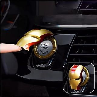 جلد دکمه استارت موتور خودرو ، روکش تزئینی ABS General Motors Ignition Switch ، حلقه استارت ماشین Iron Man با برچسب های تزئینی مقاوم در برابر خراش (قرمز طلایی)