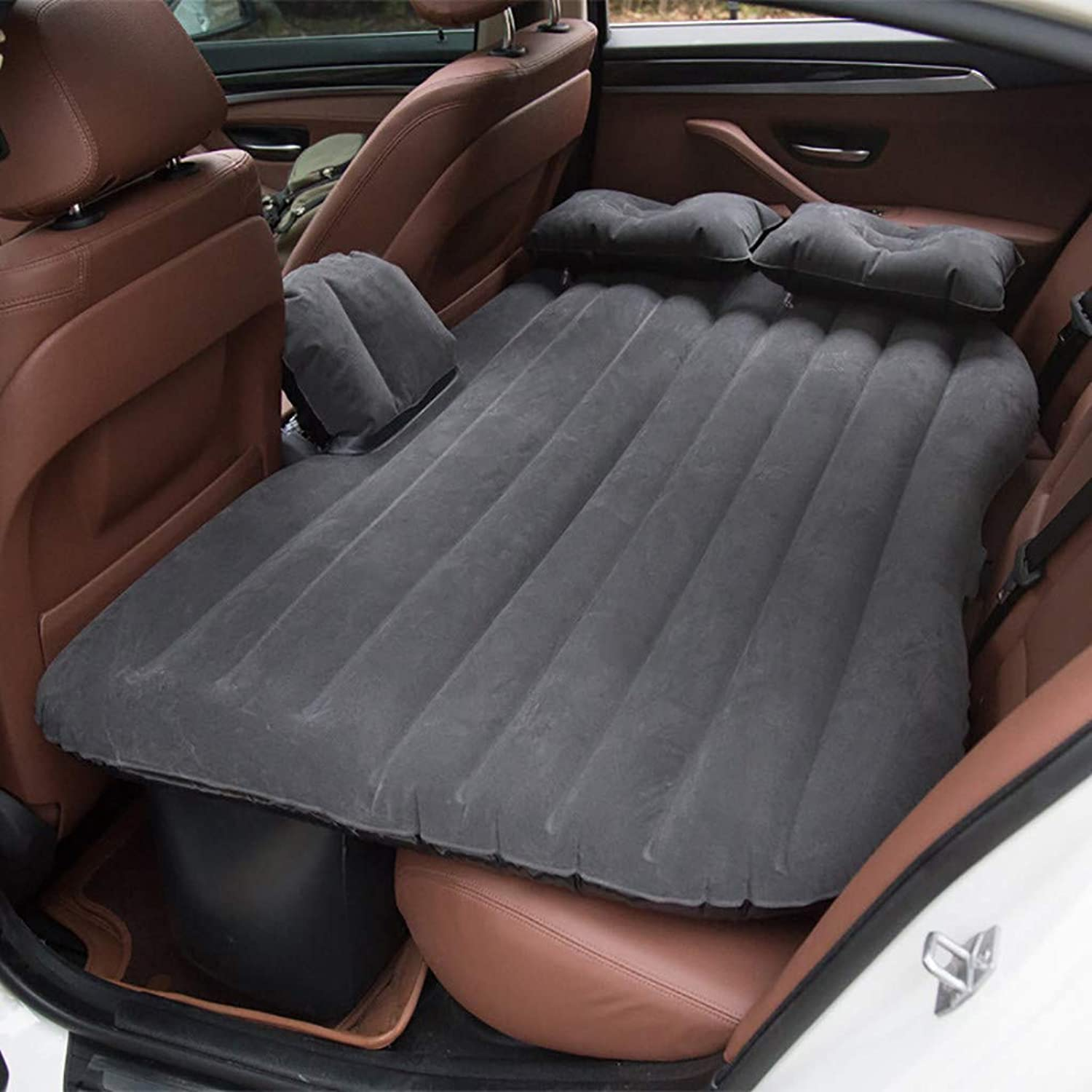 Car Travel Inflatable Mattress Air Bed Cushion Camping Universal SUV Extended Air Couch with Two Air Pillows Inflatable Car Air Mattress Camping Inflation Bed Travel Air Bed Car Back Seat (Black)