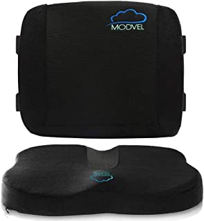 MODVEL Set Lumbar Support Pillow for Office Chair and Car Seat Cushion-Ultimate Comfort Set Relieves Back, Tailbone Pain, ...