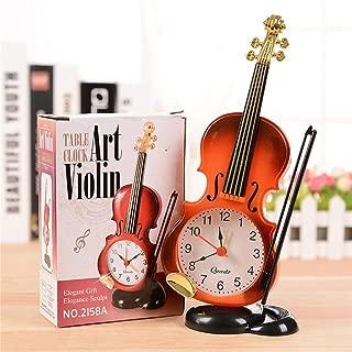 Desk Table Clocks - Unique Instrument Shape Table Clock Student Violin Decor Fiddle Quartz Alarm Desk Plastic Craft - Clock Table Desk DeskDecor Watch Clock Desk Desk Clock Antique Stopwat