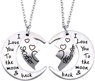 O.RIYA I Love You to The Moon Back Necklace Personalized Necklace, Daughter Mommy Mother Necklace Jewlery, Gift for Her, Gift for Mother/Daughter
