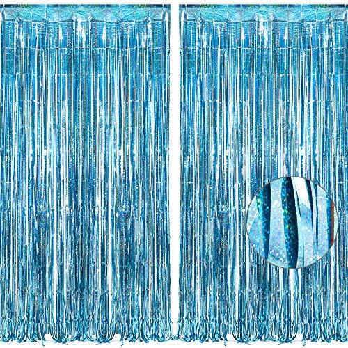 BRAVESHINE Hellblau Metallische Lametta Vorhänge Hintergrund, Funkeln Vorhängen Dekoration für Geburtstagsfeier Hochzeitsfoto Hintergrund Weihnachten Disco Party (2 Stück,1x2.5m)