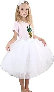 Girls Skirt Tutu Dancing Dress 5-Layer Fluffy with Ribbon