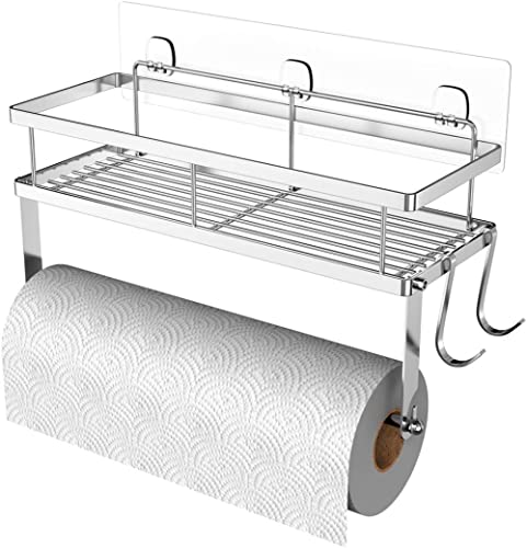 ESOW Paper Towel Holder with Shelf Storage, Adhesive Wall Mount 2-in-1 Basket Organizer for Kitchen & Bathroom, Durab...