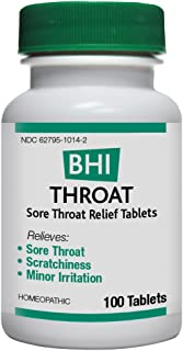 BHI Throat Sore Throat Relief Natural, Safe Homeopathic Relief - 100 Tablets