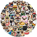 50pcs Waterproof Aesthetic Cute Funny Pug Dog Vinyl Stickers Decals Pack for Cars Water Bottles Laptop Scrapbooking Car Windows Walls Decoration Hydroflask Tumblers Trucks Women Kids Adults Planner