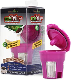 Perfect Pod ECO-Fill 2.0 Deluxe Reusable K-Cup Coffee Pod Filters | Compatible with Keurig 2.0 & Select Single Cup Coffee Makers (Reusable Filter)