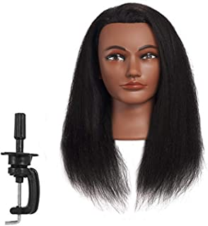 Hairginkgo Afro Mannequin Head 100% Real Hair Manikin Head Styling Hairdresser Training Head Cosmetology Doll Head for Dyeing Cutting Braiding Practice with Clamp (92019B0214)