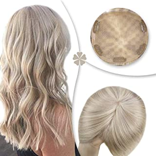 Hetto Clip in Toppers Hair Extensions Remy Human Hair Toppers for Thinning Hair 8Pulgada #18 Dark Ash Blonde y #60 Rubia Platino 13x13cm