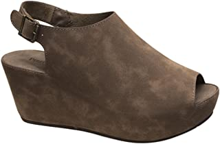 Women's Natural-6 Faux Leather Low Heel Wedge