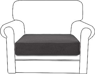 RHF Jacquard Chair Cushion Cover Stretch Cushion Cover Cushion Slipcovers Furniture Protector for Chair Seat with Elastic Bottom (Chair Cushion, Dark Gray)