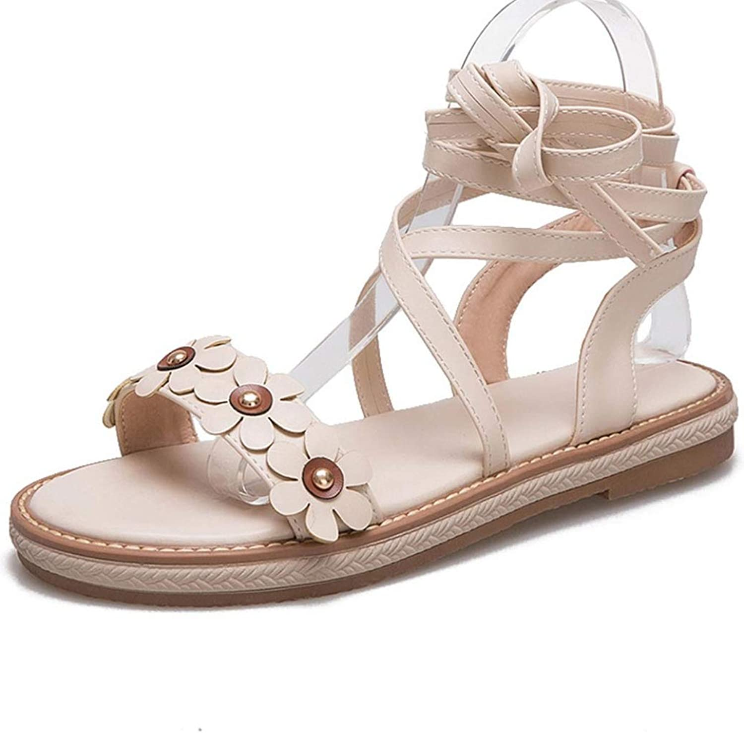 Women Platform Sandals Peep-Toe Fashion Flower Cross Ankle Strap Lace Up Ladies Dress shoes