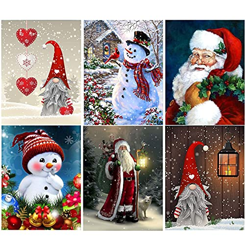 Christmas Diamond Painting, 6 Pack 5D Diamond Painting for Adults, DIY Snowman Gnome Santa Full Drill Diamond Arts by Number for Beginners Round Crystal Rhinestone Craft Canvas 12 x 16 inch