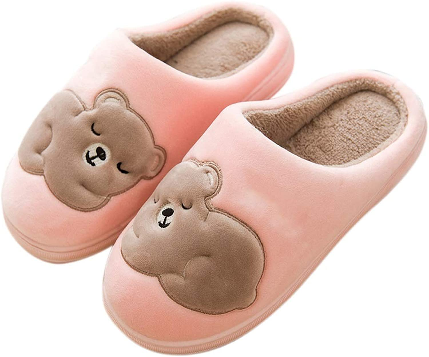HUYP Pink Cute Cotton Slippers Home Bedroom Wood Floor Skid Autumn and Winter (Size   37)