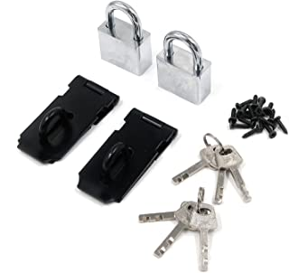Quluxe 3 Inch Stainless Steel Lock Furniture Accessories Anti-Theft Door Latches with Locks and Keys- Black (2 Set)