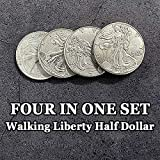4 in 1 Walking Liberty Half Dollar Set Magic Tricks Coin Appear Vanish Magic