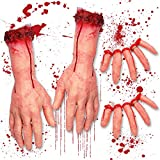 Pawliss Halloween Decorations Body Parts Severed Fake Arms Hands Fingers, Horror...