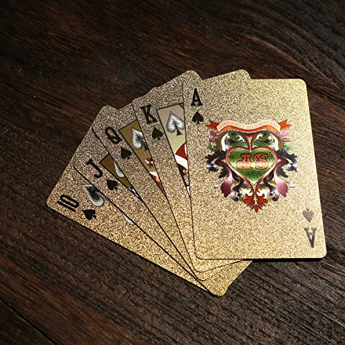 Durable and Flexible Waterproof Plastic Coated Cards BETTERLINE 2 Poker Decks Playing Cards Patterned Design Black and Gold Foil