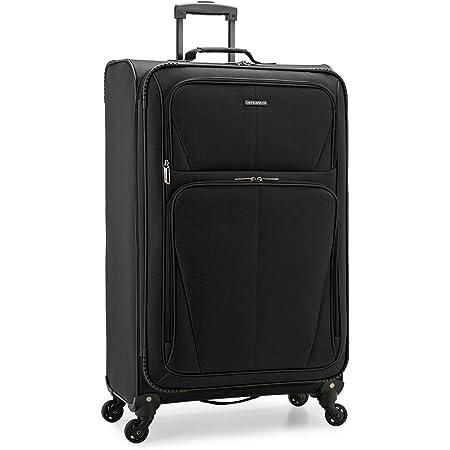 U.S. Traveler Aviron Bay Fashionable Expandable Lightweight Softside Travel Suitcase Luggage with Spinner Wheels, Black, Checked-Large 31-Inch