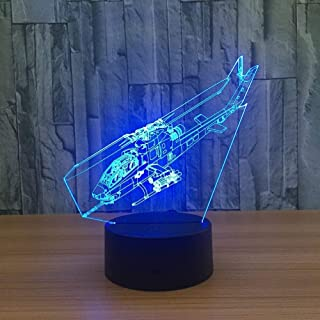 YKL WORLD Helicopter Night Light 3D Illusion Lamp LED Fighter Nightlight 7 Color Changing Touch Sensor Desk Table Lamp with USB Cable Decoration for Bedroom Kids Boys Birthday Xmas Gifts