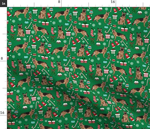 Spoonflower Fabric - German Shepherd Christmas Dogs Breeds Candy Canes Xmas Presents Green Printed on Modern Jersey Fabric by The Yard - Fashion Apparel Clothing with 4-Way Stretch