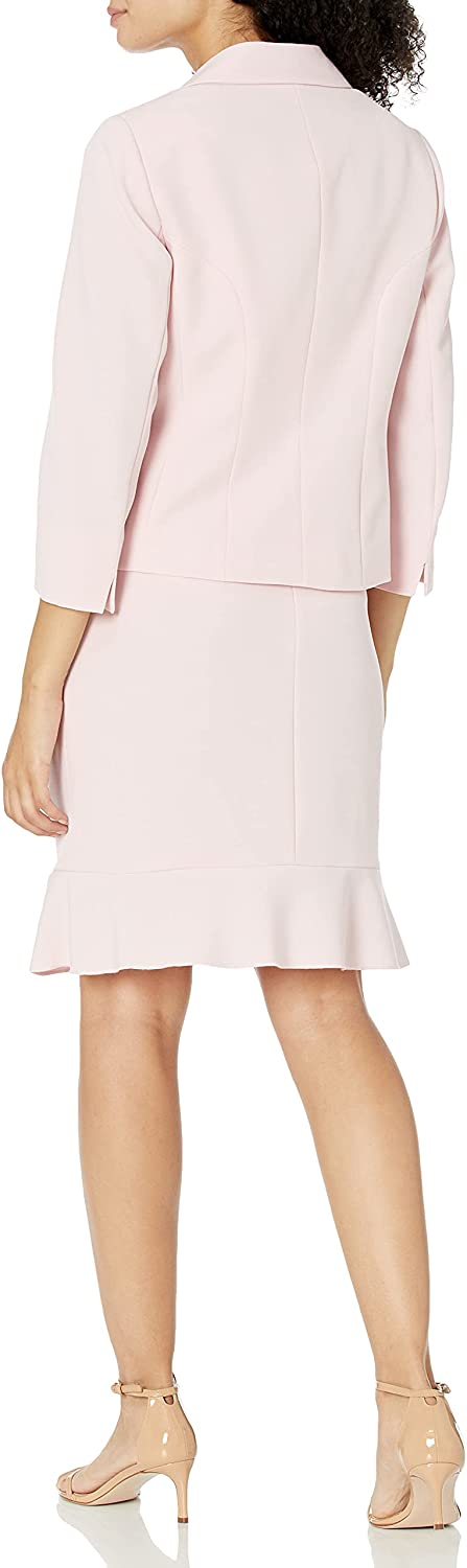 Le Suit Women's 3 Button Notch Collar Jacket with Flare Skirt Stretch Crepe Suit