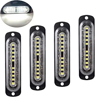 4pcs Ultra Thin 10-LED Surface Mount Grille Flashing Strobe Lights for Truck Car Vehicle LED Light-Head Emergency Beacon Hazard Warning caution lights 12-24V