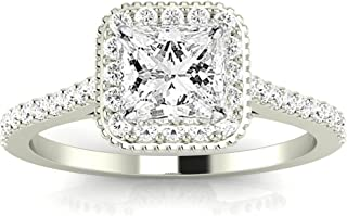 1.05 Carat 14K White Gold Stunning Vintage Halo Style Princess Cut Diamond Engagement Ring with Milgrain (H Color VS2 Clarity Center Stones)