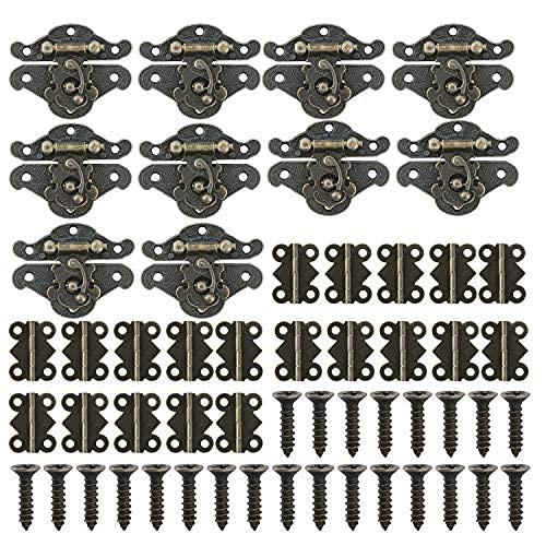 20pcs mini bisagras plegables a tope y 10pcs caja de joyería hebilla antigua caja de madera cierre hebilla con 180pcs