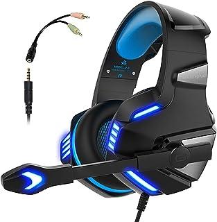 Audífonos Gamer con Micrófono para PS5/PS4 Xbox One PC, Diadema Auriculares Alámbrico Estéreo para Juegos Cancelación de Ruido y Luz LED Control de Volumen Headset para Computadora Portátil, Celulares