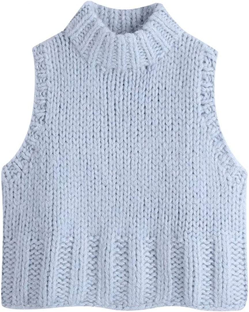Women Fashion Solid Color Sleeveless Casual Knitting Vest Sweater Lady Chic Turtleneck Waistcoat Pullovers Tops